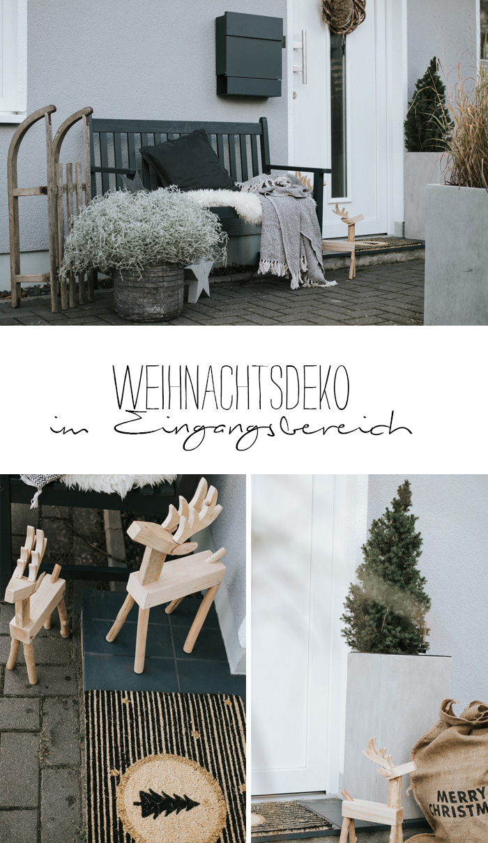 nat rliche weihnachtsdeko vor der t r. Black Bedroom Furniture Sets. Home Design Ideas